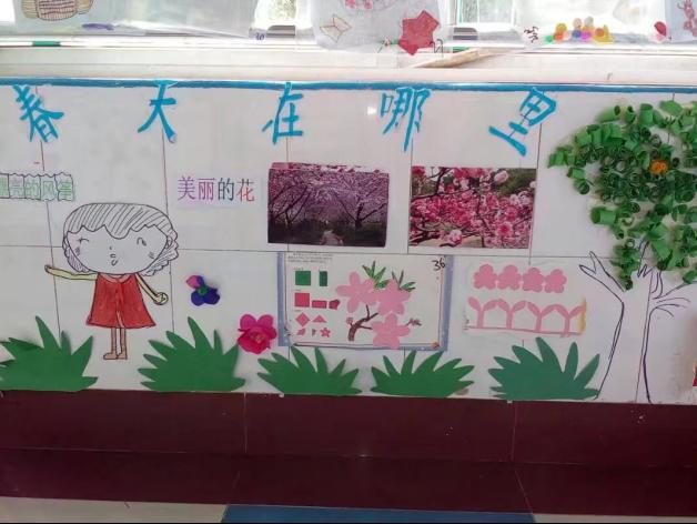 肥城师范附小幼儿园中班开展《春天在哪里》主题墙布置评比活动