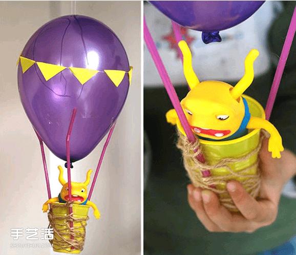 超棒的热气球手工小制作,相信每个孩子都会喜欢!马上就是周末,爸爸妈妈抓紧时间准备材料,和孩子一起齐心协力完成它,让宝宝的小玩偶乘坐它来场环球之旅吧~~~  需要准备好气球、一次性杯子、吸管、便签纸、透明胶、绳子和剪刀。  把气球吹大,然后用胶布把3根吸管等间距固定到气球上,吸管的另一头固定到塑料杯子上。  用绳子在塑料杯上缠绕,同时简单捆绑一下。接着在便签纸上剪出小三角纸片。  用细线把三角形纸片连接起来,装饰到气球上。再用水笔在气球表面画一些漂亮的图案。  最后把合适大小的玩偶放进吊篮里,可爱的热气球
