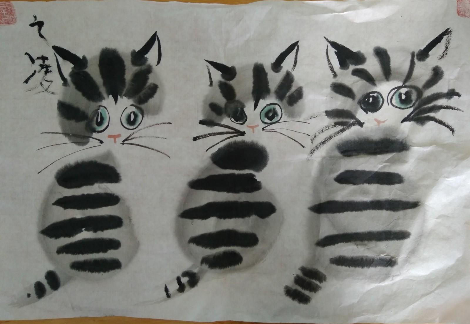 73 王广凌《三只花猫》_